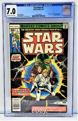 1977 Star Wars Marvel #1 Comic Book CGC 7 Off White to White Pages News Stand D2