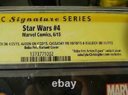 2015 MARVEL Comics STAR WARS #4 Boba Fett Action Figure SS 4x Signed CGC 9.8