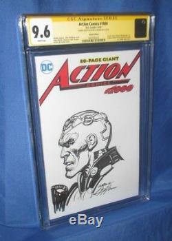 ACTION COMICS #1000 CGC 9.6 SS Signed & Original Art Sketch Neal Adams BRANIAC