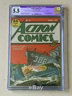 ACTION COMICS #11 CGC graded 5.5! OWithW Pages (DC 1939) Beautiful book