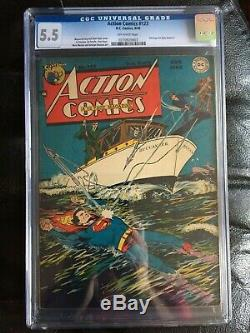 ACTION COMICS #123 CGC FN- 5.5 OW 1st time Superman flies! Rare