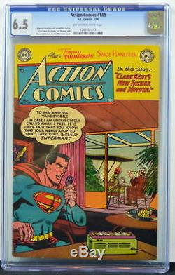 ACTION COMICS #189 CGC 6.5 Superman 1954 Great paper & cover