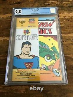 ACTION COMICS #1 CGC 9.8 REPRINT 1998 U. S. P. S. STAMP DC comics white Superman