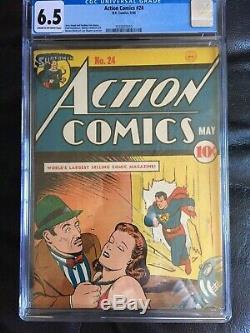 ACTION COMICS #24 CGC FN+ 6.5 CM-OW Joe Shuster cvr/art Bernard Baily art