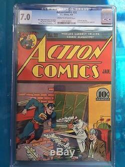 ACTION COMICS #32 CGC FN/VF 7.0 CM-OW 1st Krypto Ray Gun bondage cover