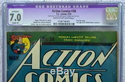 ACTION COMICS #34 CGC 7.0 SUPERMAN 1941 Full pg ad World's Best Comics #1