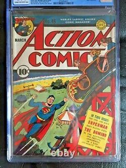 ACTION COMICS #46 CGC VG+ 4.5 CM-OW Ray roller coaster cvr Hitler app