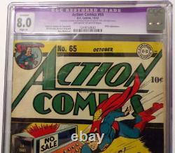 ACTION COMICS #65 CGC 8.0 Superman 1943 Hitler appearance
