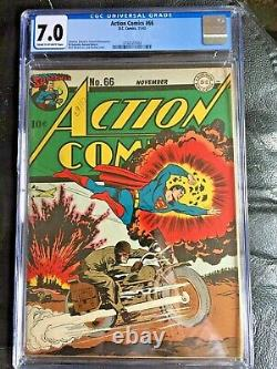 ACTION COMICS #66 CGC FN/VF 7.0 CM-OW Burnley WWII motorcycle cvr