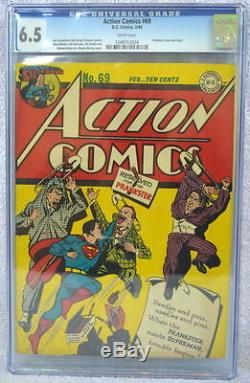ACTION COMICS #69 CGC 6.5 SUPERMAN 1944 Rare Prankster c & story