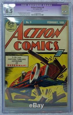 ACTION COMICS #9 CGC 6.5 9th App SUPERMAN 1939 Rare Off White/White Pgs