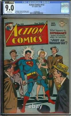 Action Comics #113 Cgc 9.0 Ow Pages // Golden Age Wayne Boring Superman Cover