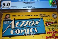 Action Comics #153 CGC 5.0 DC 1951 Superman Deaths of Clark Kent Tommy Tomorrow