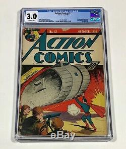 Action Comics #17 CGC 3.0 KEY! Bright! (6th Superman cover in title) Oct. 1939 DC