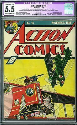 Action Comics #18 CGC 5.5 Restored (C-OW) Last non-Superman cover