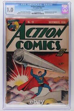 Action Comics #19 DC 1939 CGC 1.0 Consecutive Superman covers begin