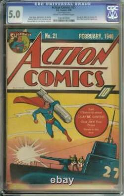 Action Comics #21 Cgc 5.0 Cr/ow Pages // Superman Missile Cover