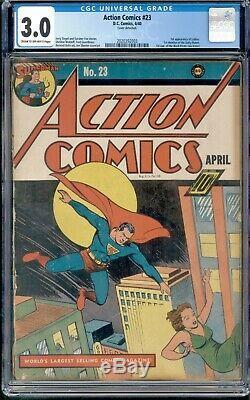 Action Comics 23 CGC 3.0 G/VG Superman DC 1940 1st Lex Luthor 1st Daily Planet