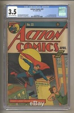 Action Comics 23 (cgc 3.5) 1st App Lex Luthor! 4/1940, DC Comics Superman C-/ow