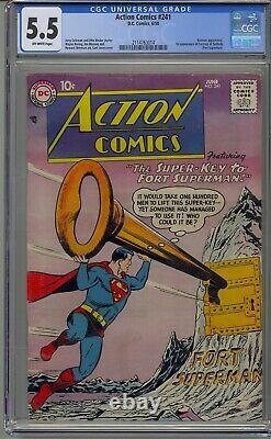 Action Comics #241 Cgc 5.5 Superman 1st Fortress Of Solitude Batman Appearance