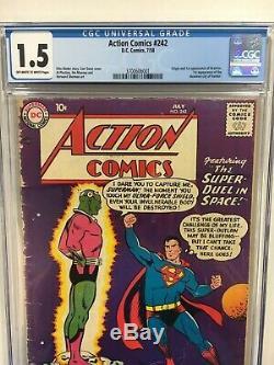 Action Comics #242 CGC 1.5 owithw pgs 1958 DC 1st Brainiac 1st Kandor