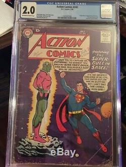 Action Comics #242 CGC 2.0 OWithW KEY 1st Brainiac & Shrunken City Of Kandor