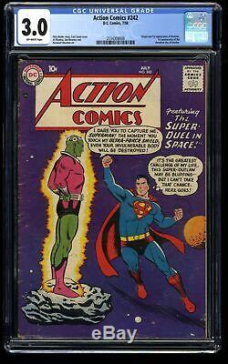 Action Comics #242 CGC GD/VG 3.0 Off White 1st Braniac! Kandor! DC Superman