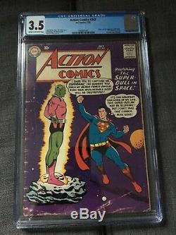 Action Comics #242. SUPERMAN (Rare) 1st appearance of Brainiac. CGC 3.5