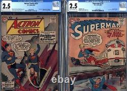 Action Comics 252 (1959) & Superman 123 (1958) CGC 2.5 1st Supergirl & Metallo
