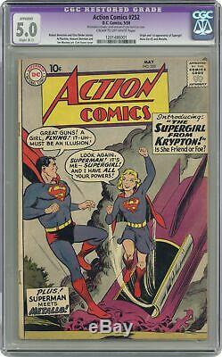 Action Comics #252 CGC 5.0 RESTORED 1959 1201486001 1st app. Supergirl