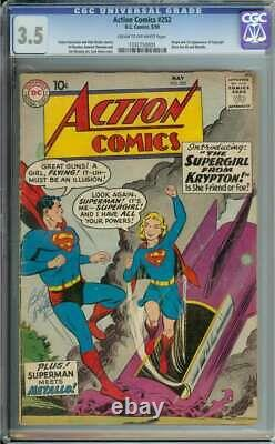 Action Comics #252 Cgc 3.5 Cr/ow Pages // Origin + 1st Appearance Supergirl 1959