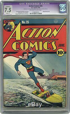 Action Comics #25 CGC 7.5 RESTORED 1940 1138393015