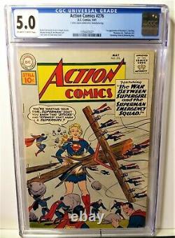 Action Comics 276 (1961)-cgc 5.0 1st Brainiac 5, Sun Boy, Phantom Girl-free Ship