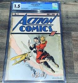 Action Comics 2 CGC 1.5 FR/GD OWithW DC 1938 2nd App SUPERMAN Rare Golden Age
