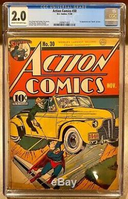 Action Comics #30 Comic Book 1940 November 11/40 CGC D. C. Comics Superman Zolar