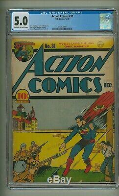 Action Comics 31 (CGC 5.0) C-O/W pages Superman Golden Age DC 1940 (c#24378)