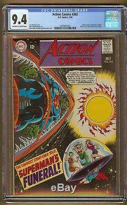 Action Comics #365 (CGC 9.4 OWithW) 1968 DC Comics Silver Age Near Mint