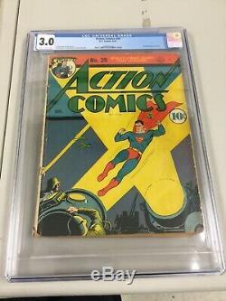 Action Comics 39, Cgc 3.0 (g/vg), 1941 DC Comics, Early German War Cover