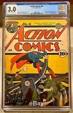 Action Comics #44 Comic Book 1942 January 1/42 CGC D. C. Comics Superman War