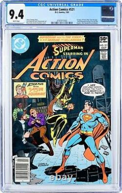 Action Comics #521 (1981) CGC 9.4, Mint Case! White Pages! KEY! 1st app VIXEN