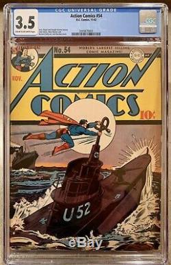 Action Comics #54 Comic Book 1942 November 11/42 CGC D. C. Comics Superman War