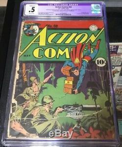 Action Comics #60! 1st Lois Lane As Superwoman! Awesome Golden Age! Cgc. 5 (r)