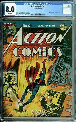 Action Comics #61 Cgc 8.0 Atomic Radiation Cover Wwii Only 4 Higher DC Gold 1943