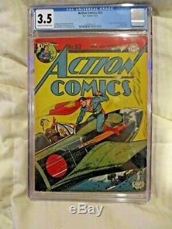 Action Comics # 63, Cgc 3.5, 1943, Superman, Japanese Pilot Cover, Hitler