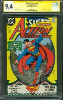 Action Comics 643 CGC 9.4 SS George Perez Superman 1 Homage Cover 7/1989