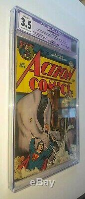 Action Comics 68 CGC 3.5 OW-WHITE Pages Hitler Tojo Mussolini Axis Of Evil App