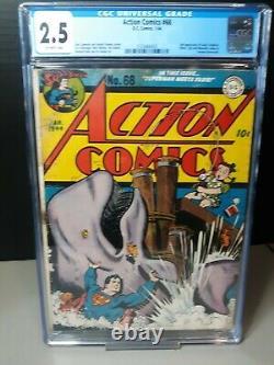 Action Comics #68 Cgc 2.5 2nd Susie Tompkins 1944 DC