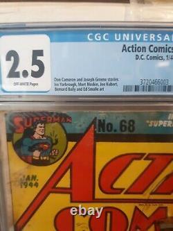 Action Comics #68 DC 1944 CGC 2.5 2nd Susie Tompkins