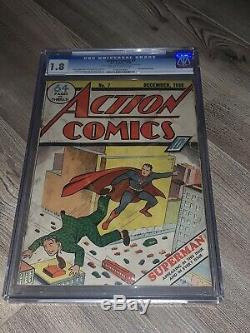 Action Comics 7 CGC 1.8 G- DC 1938 RARE 2nd Superman Cover Ever! Golden Age Key