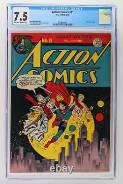 Action Comics #81 DC 1945 CGC 7.5 -Superman- New Year's cover